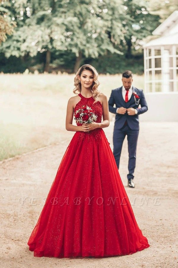 Cheap Red Lace Prom Dresses Jewel Floor Length Formal Gowns