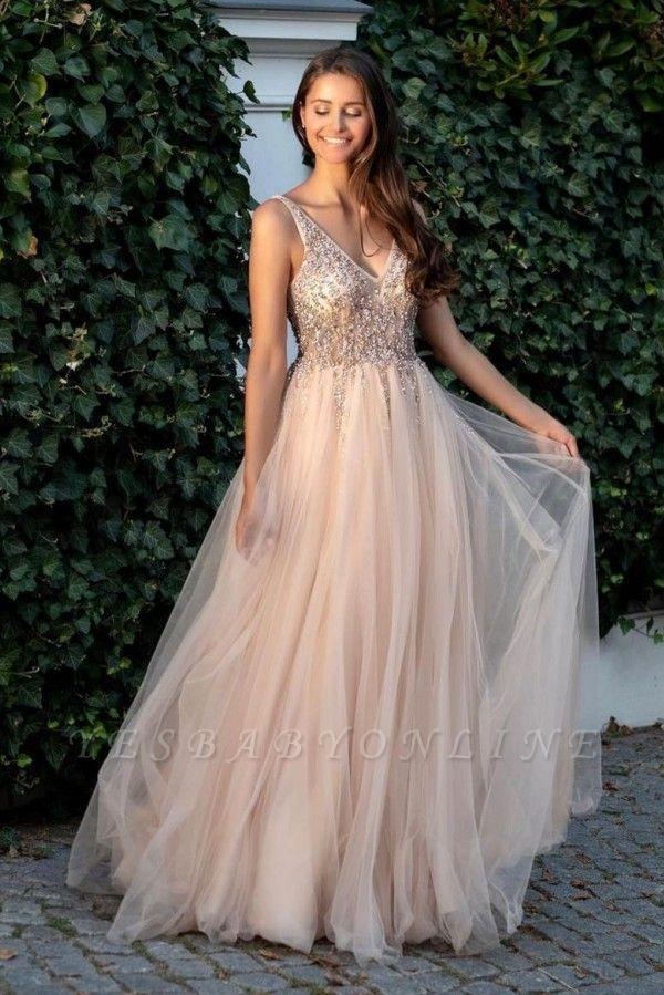 Cheap A Line Beadings V Neck Tulle Floor Length Prom Dresses