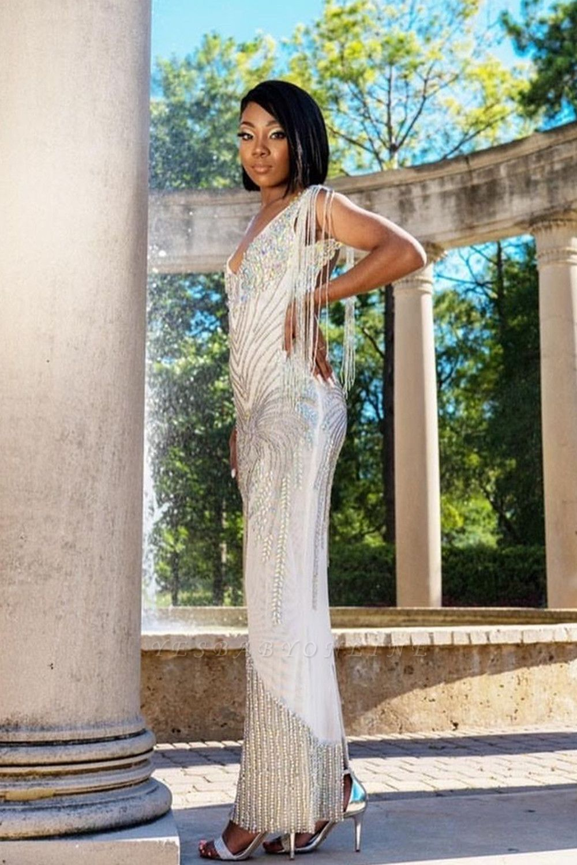 V-Neck Beading Slim Mermaid Prom Dress Tassel Sleeveless Evening wear