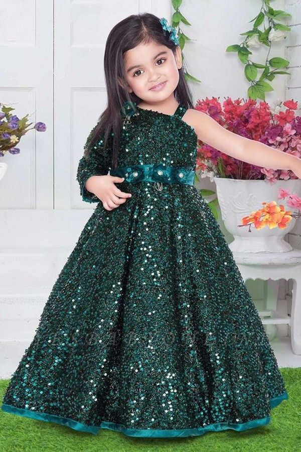 Sparkly Sequined One-Shoulder Princess Flower Girl Dress with Flowers