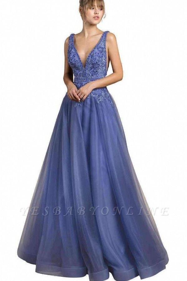 Cheap Floor Length Deep V Neck Lace Tulle Prom Dresses