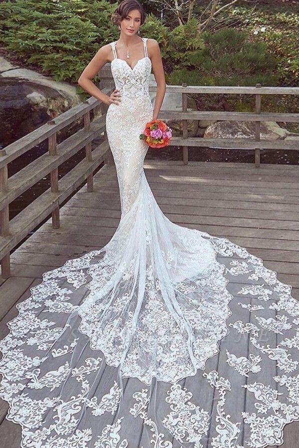 Cheap Mermaid Sweetheart Floor Length Lace Wedding Gowns