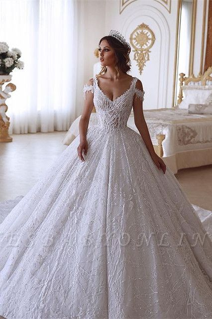 Glamorous Ball Gown V-neck Cold-Shoulder Lace Wedding Dress with Beadings