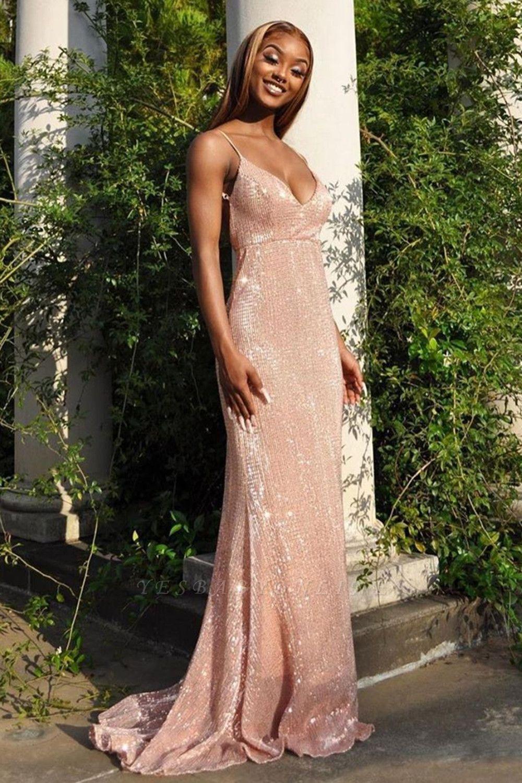 Sparkly Spaghetti V-Neck Highwaist Sequins Evening Party Dress Prom Formal
