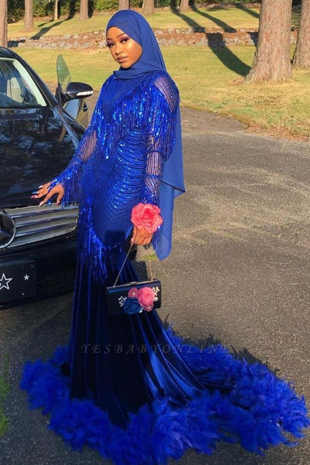 Mermaid Royal Blue Sequined Prom Dresses Sweep Train