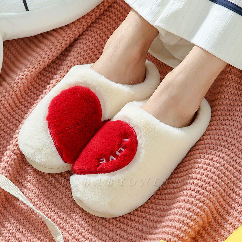 Heart Letter Pattern Fluffy Slippers