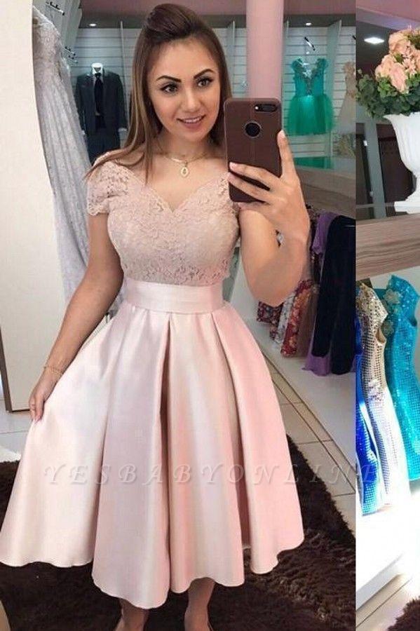 Stylish Satin V-Neck Sleeveless Lace Tea Length Prom Dress