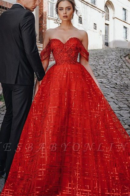 Gorgeous Ball Gown Sweetheart Red Prom Dress with Sequins