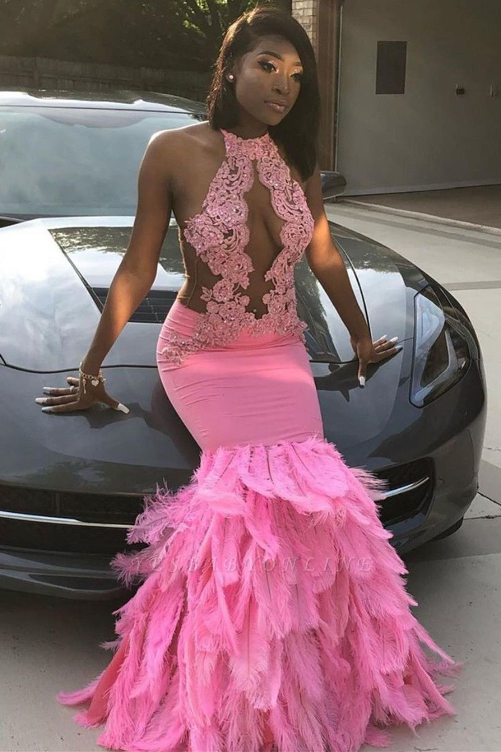 Mermaid Feather Pink Halter Prom Dress Appliques Evening Dressing