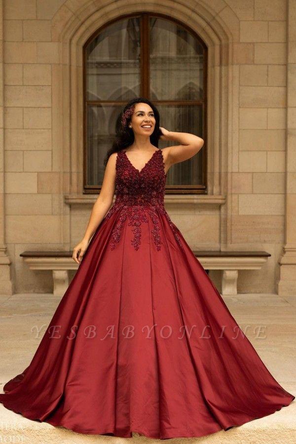 Elegant V-Neck Satin Lace Burgundy Wedding Dress