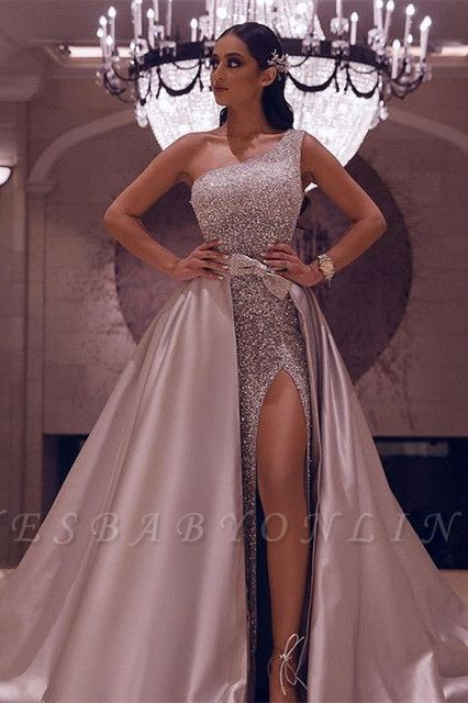 Sexy One-Shoulder Sequins Slit Prom Dress with Over Skirt