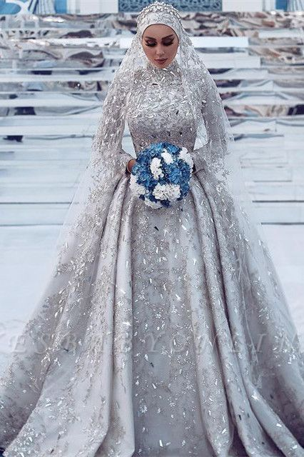Luxury Sheath High-Neck Tulle Lace Wedding Dress with Beadings