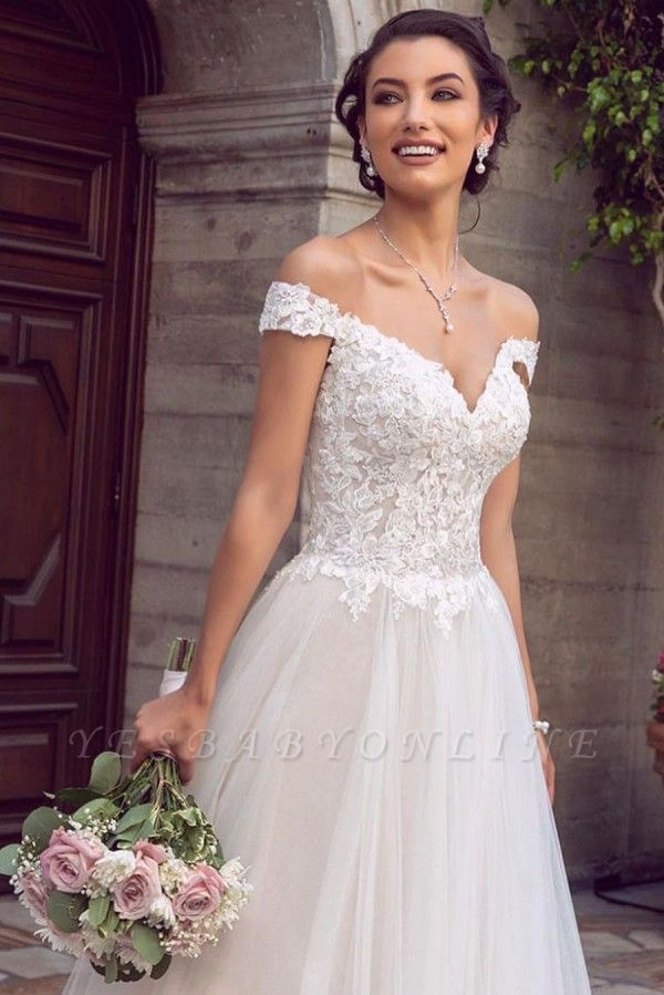 Sexy Floor Length Off the Shoulder White Lace Tulle Wedding Gowns