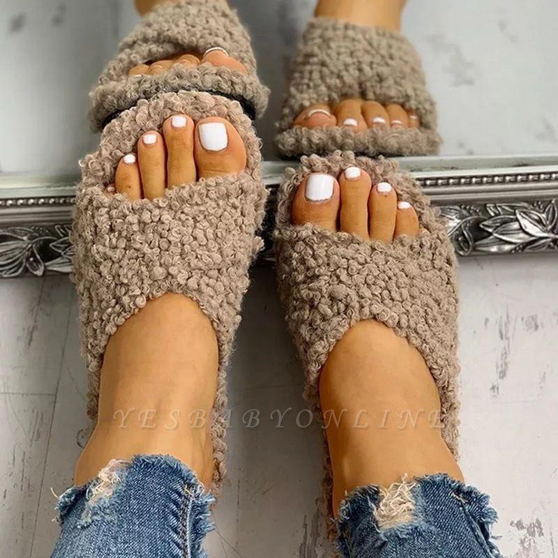 Solid Fluffy Crisscross Design Flat Sandals