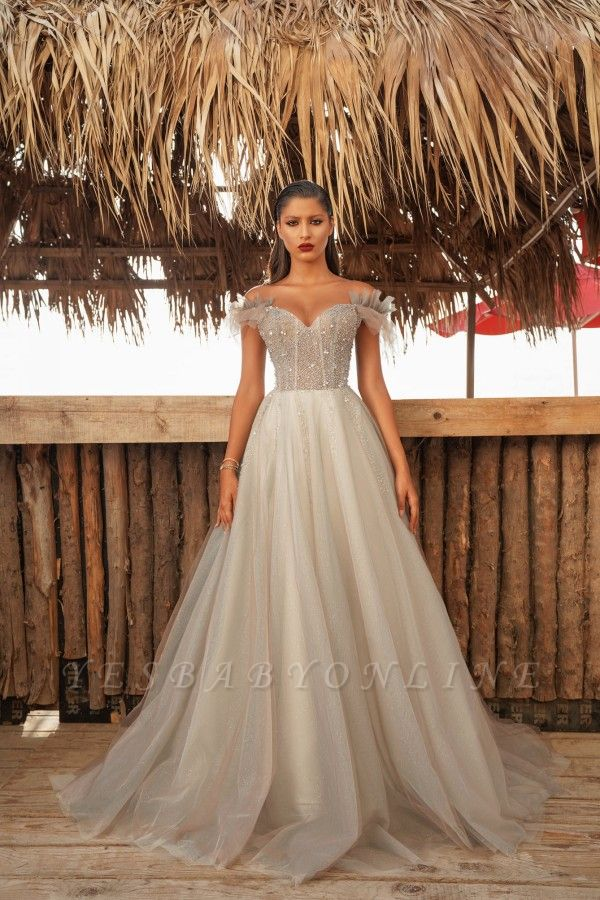 Sexy Floor Length Off the Shoulder Tulle Beaded Prom Dresses