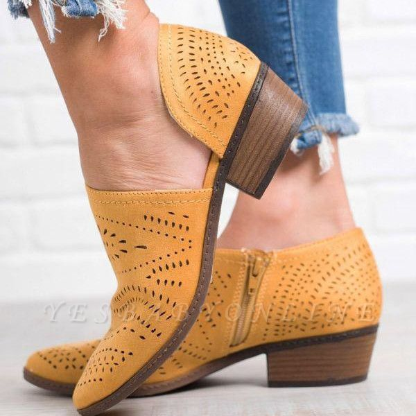 Hollow-out Low Heel Summer Faux Suede Boot On Sale