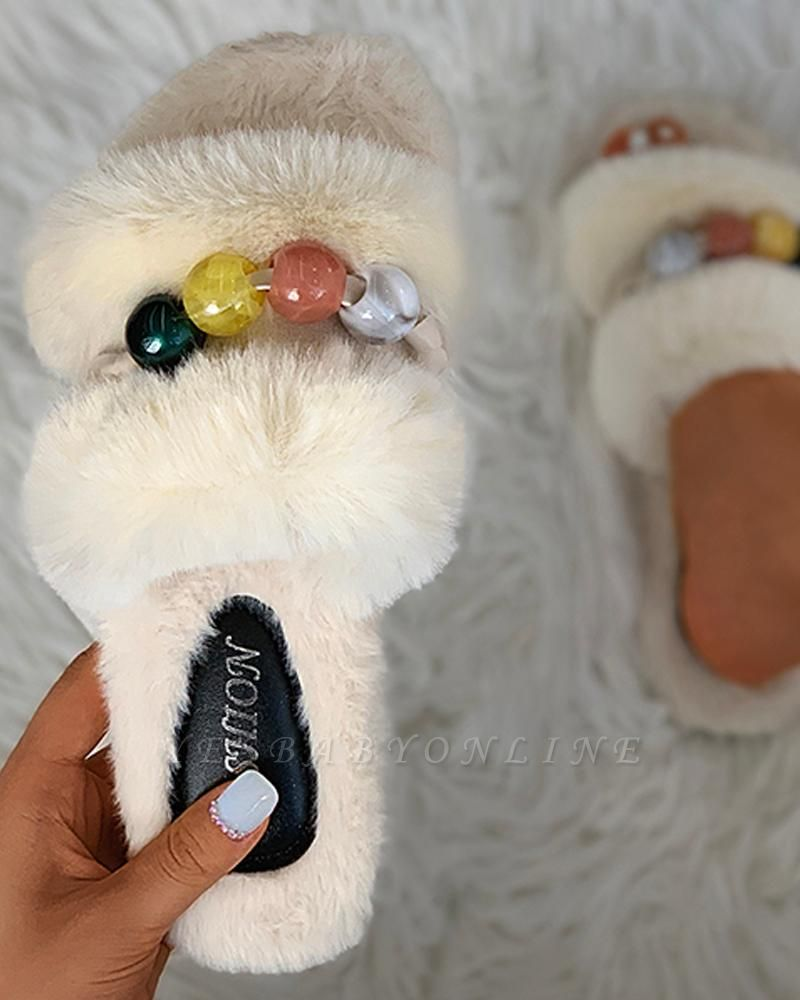 Colorblock Beaded Fluffy Slippers