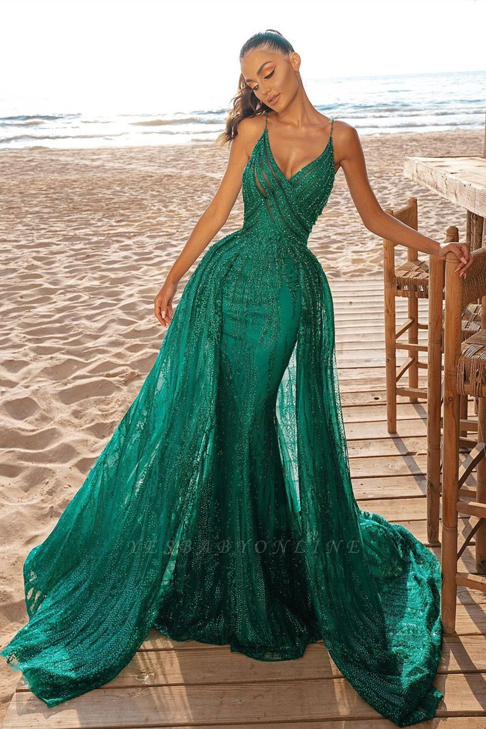 Mermaid Prom Party Dress V-Neck Sequined Prom Dresses