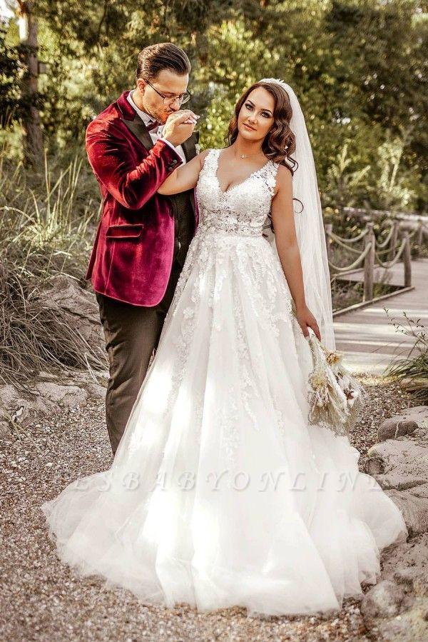 A Line V neck Lace White Wedding Dresses