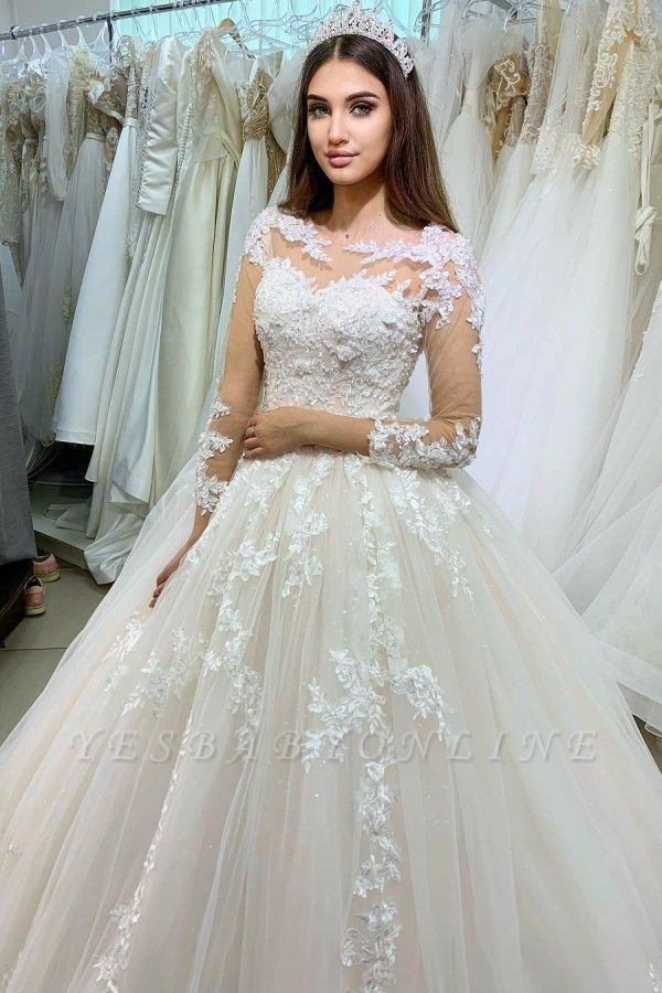 Princess Long Sleeves Tulle Wedding Dress with Appliques