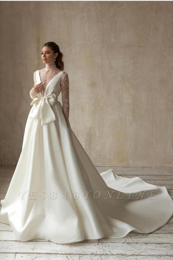 Modern High-Neck Satin Tulle Lace Long Sleeves Wedding Dress with Bow