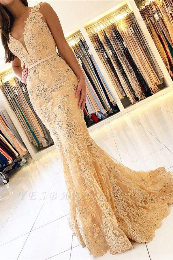 Elegant Mermaid Sleeveless Lace Prom Dress