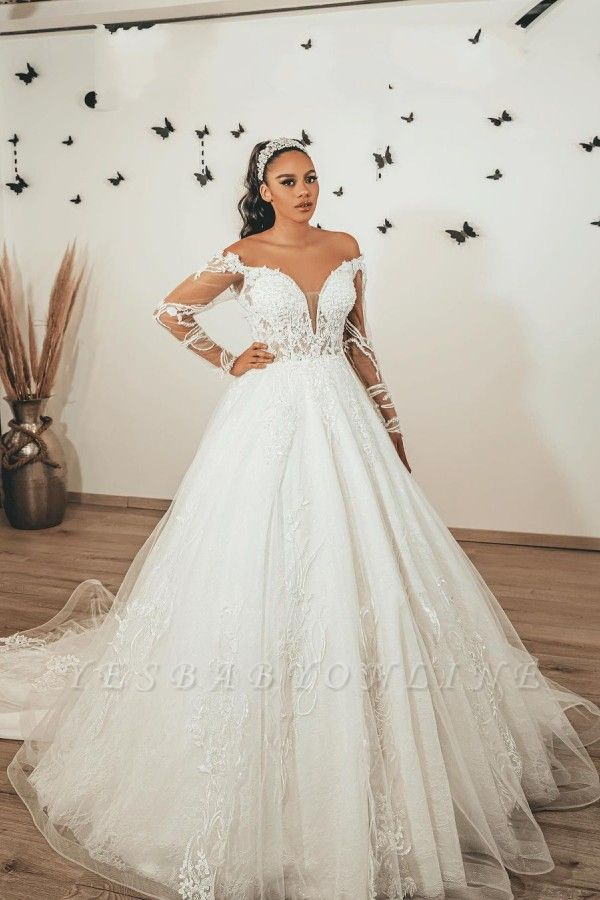 Modern A Line Lace Wedding dresses with sleeves