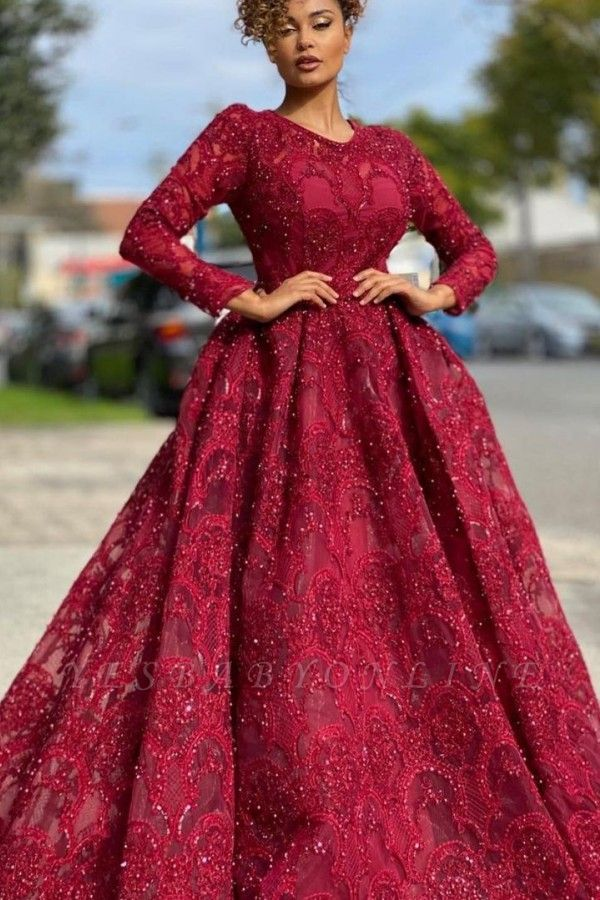 Luxury Jewel Long Sleeves Burgundy Tulle Lace Prom Dress with Beadings