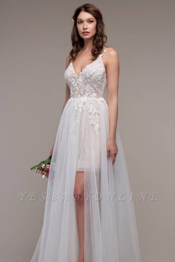 Simple Spaghetti Straps Tulle Lace Wedding Dress