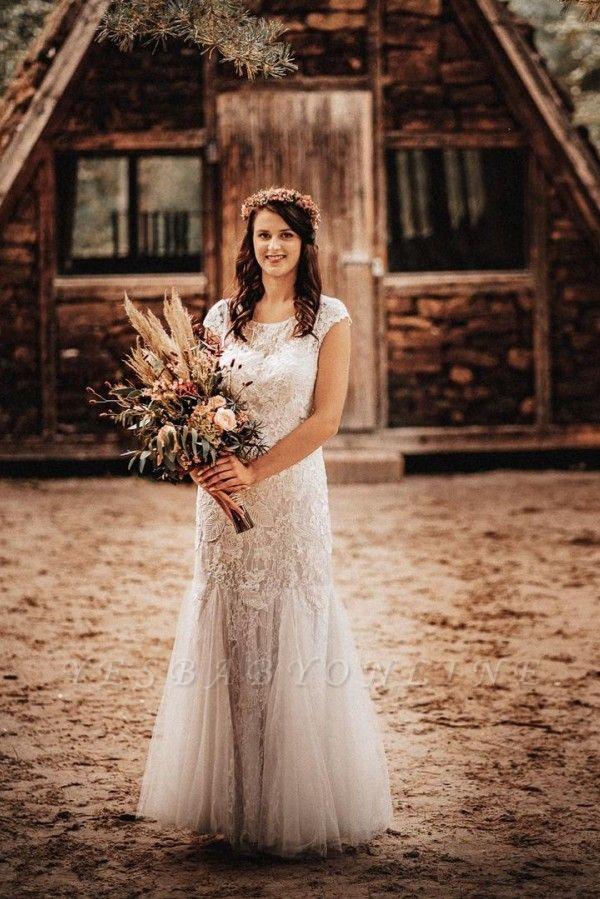 Affordable Tulle Lace Sleeveless Wedding Dress