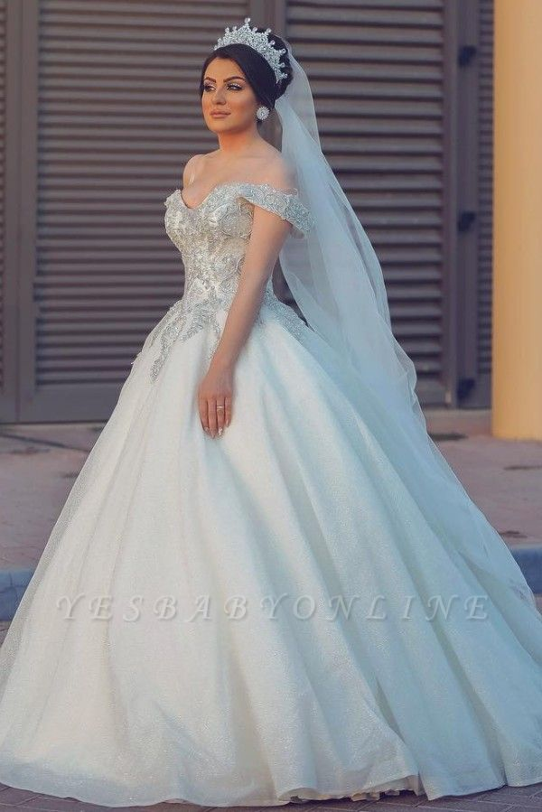 Ball Gown Off-Shoulder Tulle Lace Wedding Dress