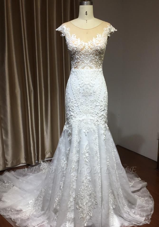 Graceful Jewel Tulle Beading Mermaid Wedding Dresses With Lace Appliques