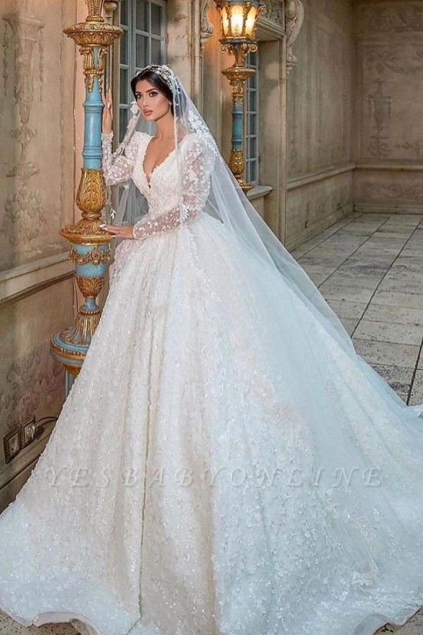 Extravagant Princess wedding dresses glitter lace sleeves