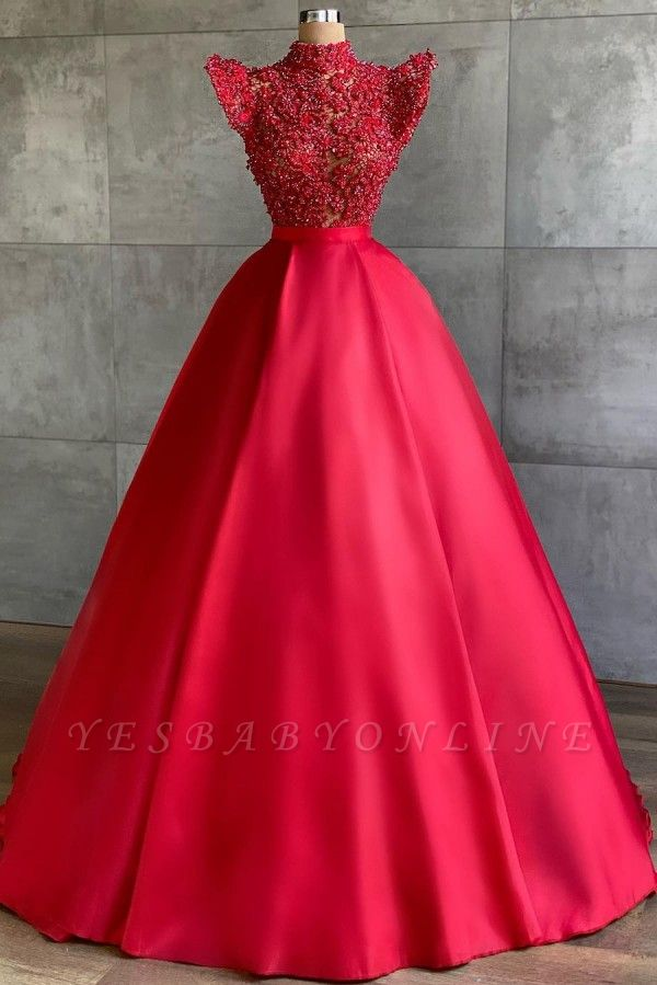 Chic High-Neck Lace Satin Prom Dress with Pearls