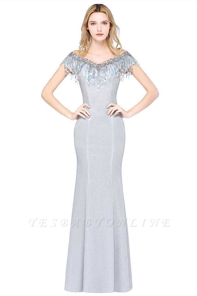Elegant Jewel Short Sleeves Sequins Evening Dress with Tassels On Sale
