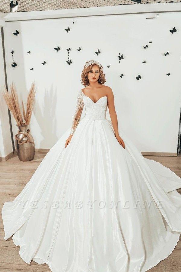 Luxury Princess  One Shoulder Wedding dresses with sleeves
