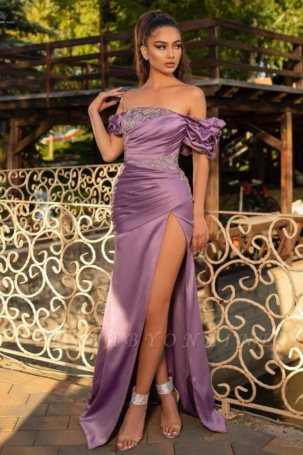 Gorgeous Off The Shoulder Grape Purple Split Prom Dress Mermaid