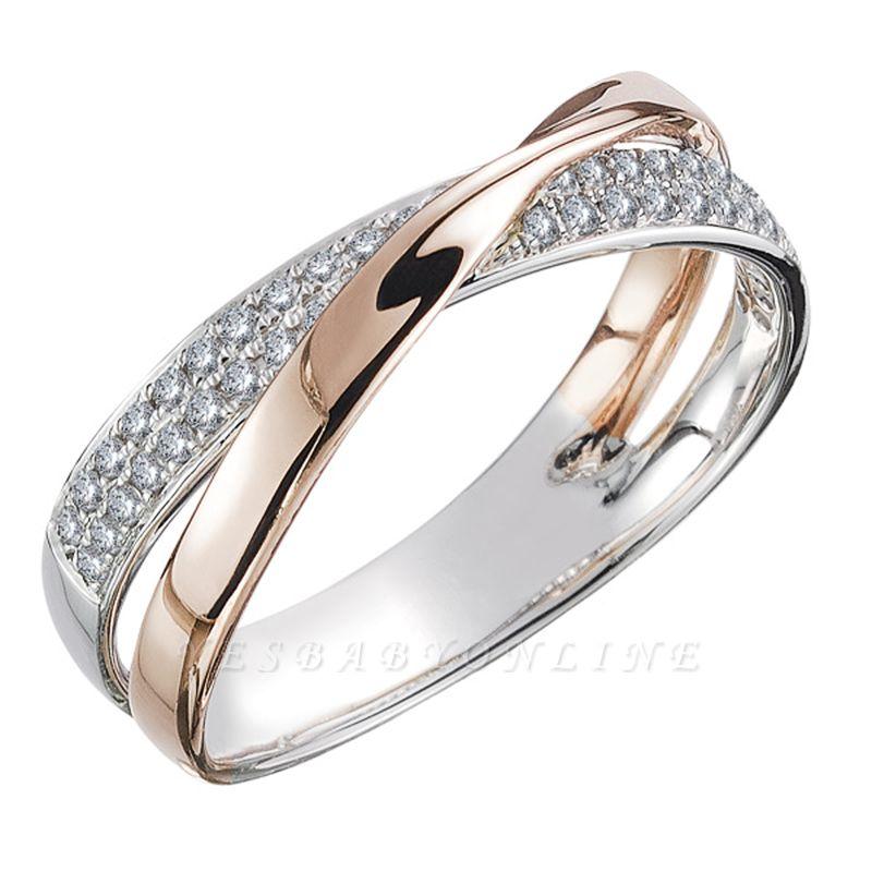 Newest Fresh Two Tone X Shape Cross Ring for Women Wedding Trendy Jewelry Dazzling CZ Stone Large Modern Rings