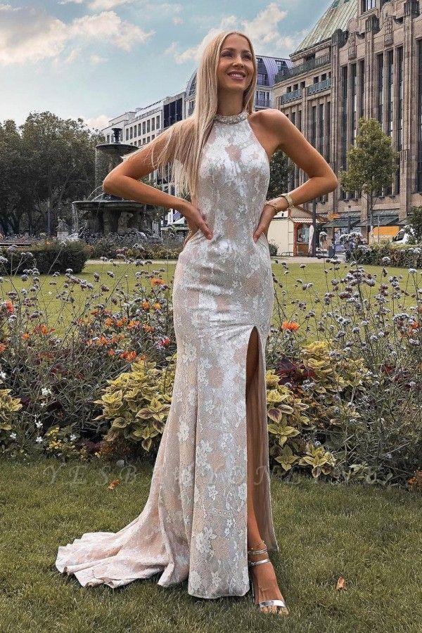 Sexy Backless Lace Slit Prom Dress On Sale