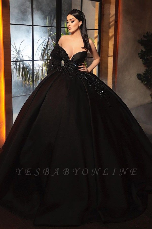 Alluring Ball Gown One-Sleeve Black Taffeta Lace Prom Dress