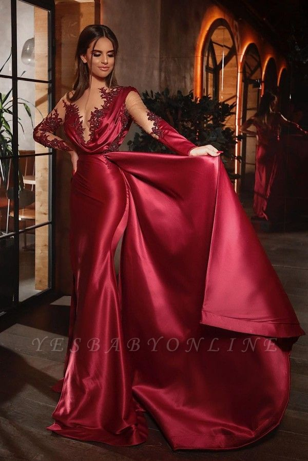 Sexy Mermaid Long Sleeves Burgundy Prom Dress with Ruffles
