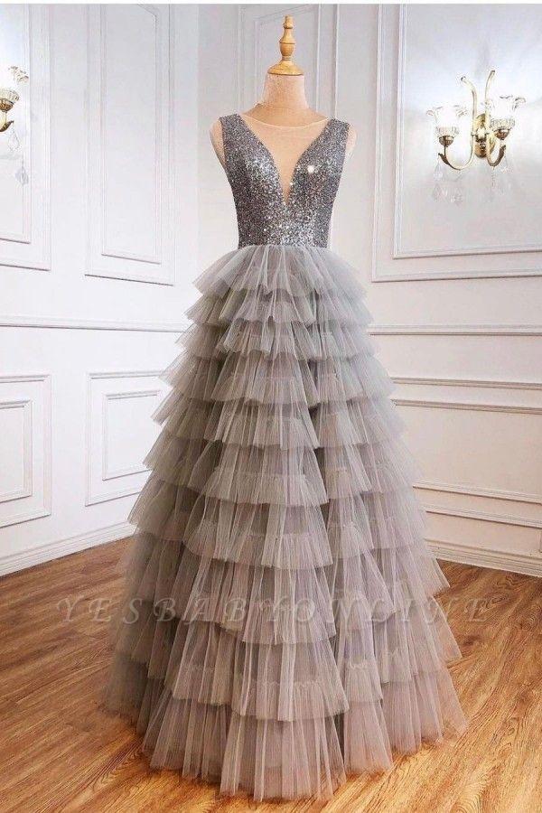 Boho Jewel Sequins Tulle Sleeveless Prom Dress