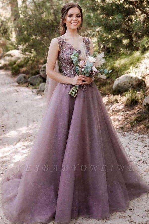Beautiful long V neckline purple Prom dresses with glitter