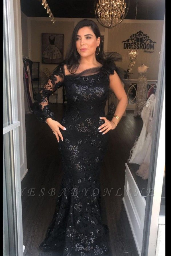 Chic Mermaid One-Sleeve Square-Neckline Lace Prom Dress