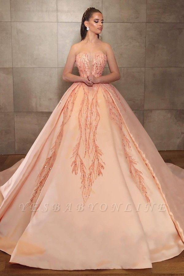 Ball Gown Strapless Satin Sleeveless Beadings Prom Dress