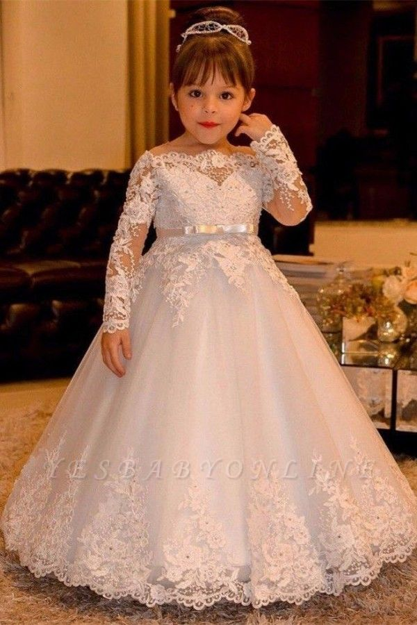 Cute Ball Gown Long Sleeves Lace Flower Girl Dress