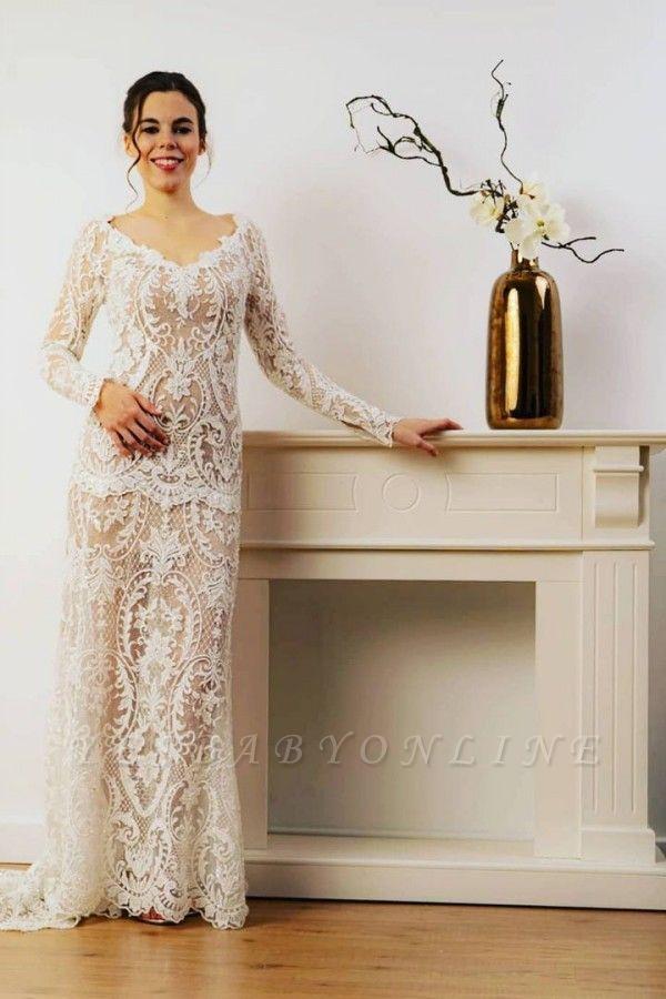 Sheath Lace Long Sleeves Wedding Dress Online
