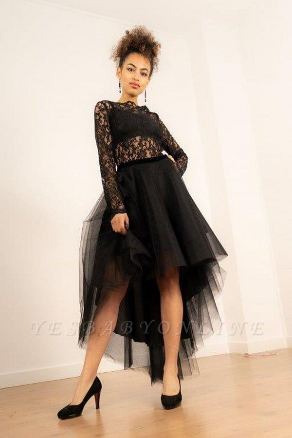 Hi-Lo Long Sleeves Lace Tulle Prom Dress