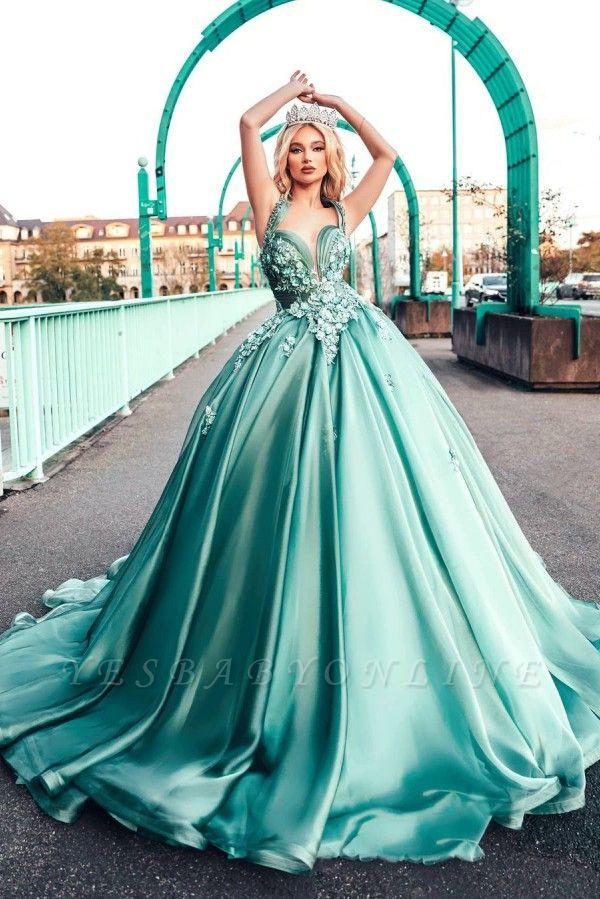 Lighter green evening dresses ball gown Prom dresses long cheap