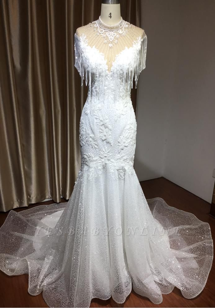 Shining Sleeveless Bronzing Mermaid Wedding Dresses With Tassel